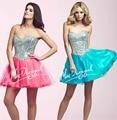 New 2015 Design Homecoming Dress Sweetheart Beading Bodice Organza Part Dress Graduation Dresses Vestido curto