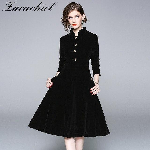 Plus Size Black Velvet Dress 2018 Winter Clothing Women Vintage Long