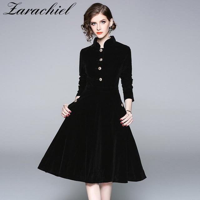 b9b33eff941d5 Plus Size Black Velvet Dress 2019 Winter Clothing Women Vintage Long  Sleeves Gold Button Pocket Ladies Office Casual Robe Dresse