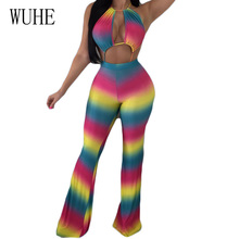 WUHE Gradient Tie Dye Sexy Hollow Out Halter Jumpsuits Backless Sleeveless Slim Flared Pants Trousers Women Summer Playsuits