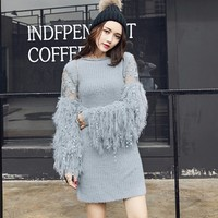 CHICEVER 2017 Autumn Knitting Female Sweater For Women Pullovers Lantern Sleeve Loose O Neck Sweaters Jumper