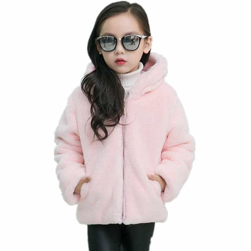 2019 Son Moda Kızlar Sonbahar Kış Faux Kürk Ceket Çocuklar Sıcak Kapşonlu Tatlı Prenses Fermuar Noel pamuklu ceket N10