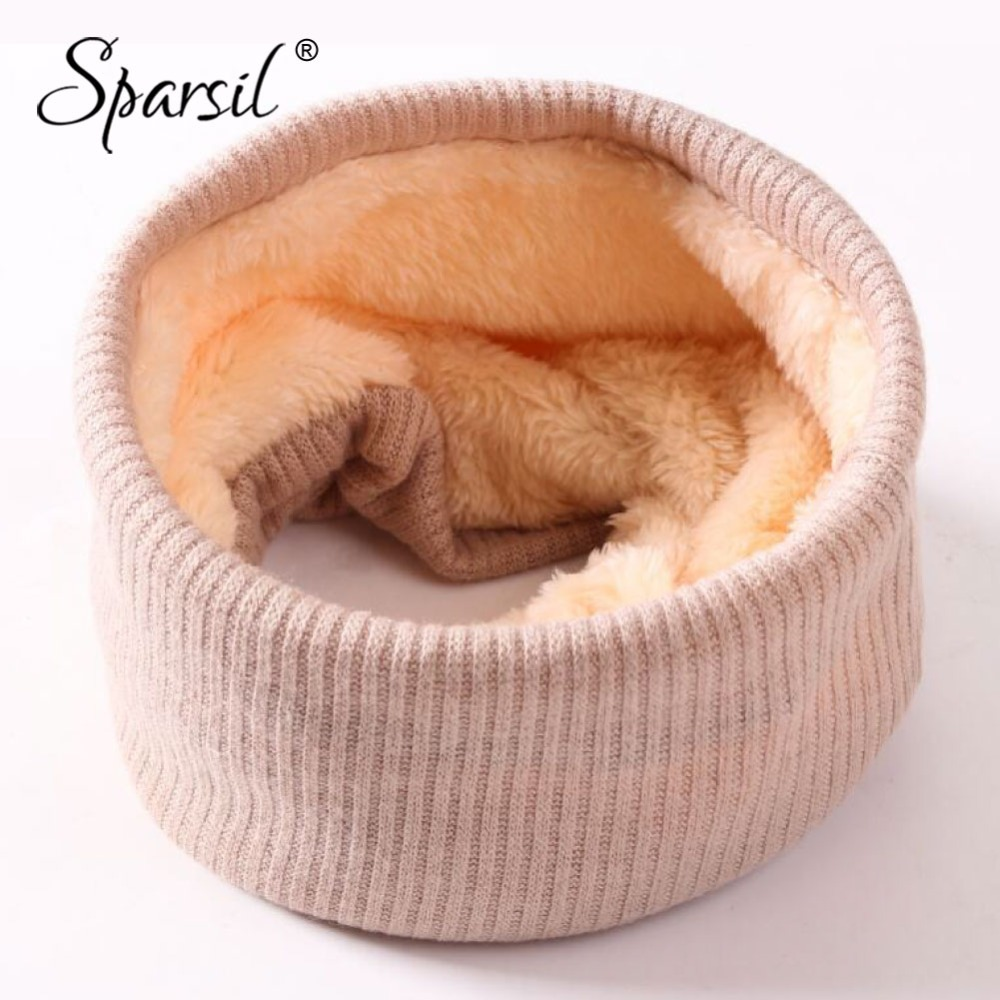 Sparsil Men Women Wool Knitted Ring Scarf Plus Fleece Warm Winter Autumn Coldproof Collar Solid Color Neck Wraps Thick Mufflers