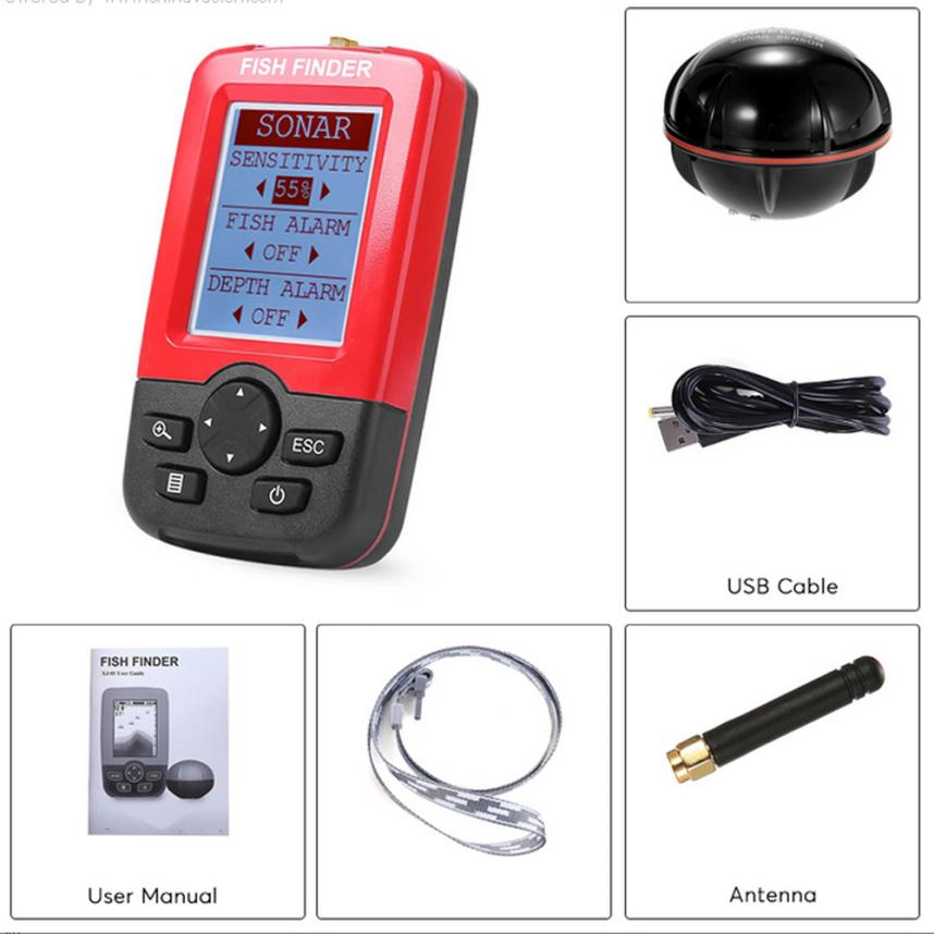 4-M Smart Portable Depth Fish Finder With 100M Wireless Sonar Echo Sounder Fish Find free shipping