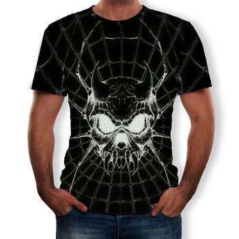 Skull T-shirt Casual Short Sleeve O-neck Men Black
