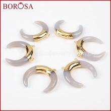 BOROSA Clearance Sale 5/10pcs Druzy Tribal OX Horn Gold Color Grey Agates Crystal Druzy Connector Double Charms Jewelry G1101(China)