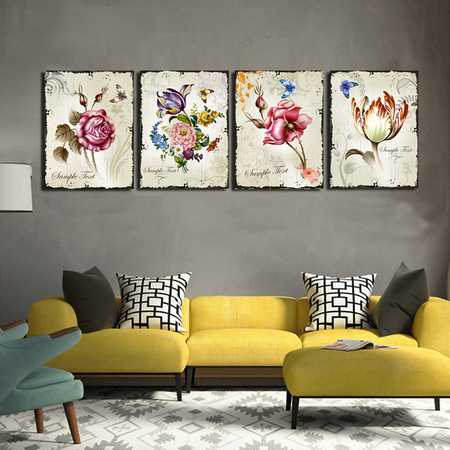 4 Pieces Clic Fl Wall Art Canvas Prints Flower Combination Home Interior Pictures For Living