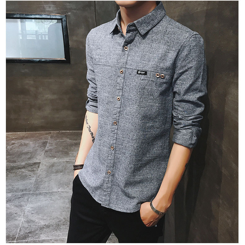 2019 spring new men's shirt Korean version of the self-cultivation youth casual business cotton shirt tide men's boutique shirt 37