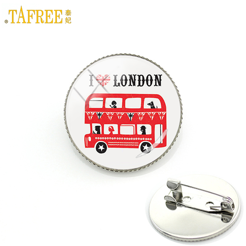 TAFREE I Love London United Kingdom travel art double decker bus men women badge pins peace hippy car brooches jewelry gift H192