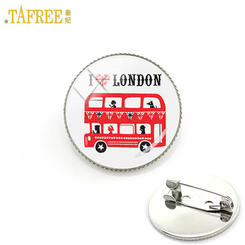 TAFREE I Love London United Kingdom travel art double decker bus men women badge pins peace hippy car brooches jewelry gift H192