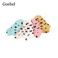 Goebel Women Short Socks Cute Comfortable Summer Cartoon Socks Woman Candy Colors Animal Pattern Girls Short