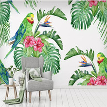Modern 3d wallpaper tropical watercolor flowers and birds background wall custom mural photo