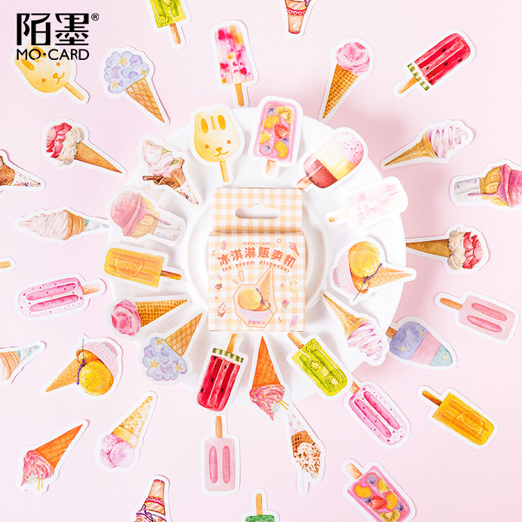 46pcs/pack Various Ice Cream Decorative Stickers Scrapbooking Stick Label Diary Stationery Album Stickers