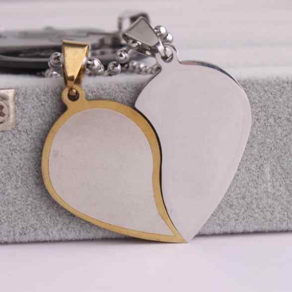 free shipping Lovers Gold Edge In half hearts 316L Stainless Steel pendant necklaces bead chain for men women wholesale