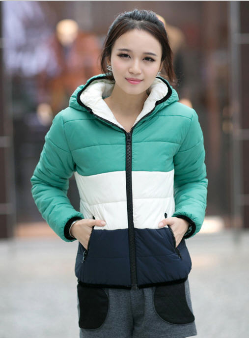2013 New WomenS Winter Short And Small Cotton Padded Jacket Female Slim Thick Warm Zipper Stitching Hooded Outwear H2024