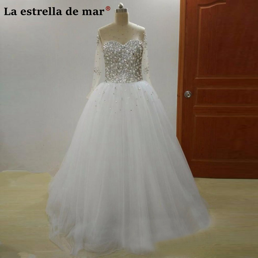 VVestido de noiva princesa new sexy see fluffy crystal white long long sleeve wedding dress real photo brautkleid cheap