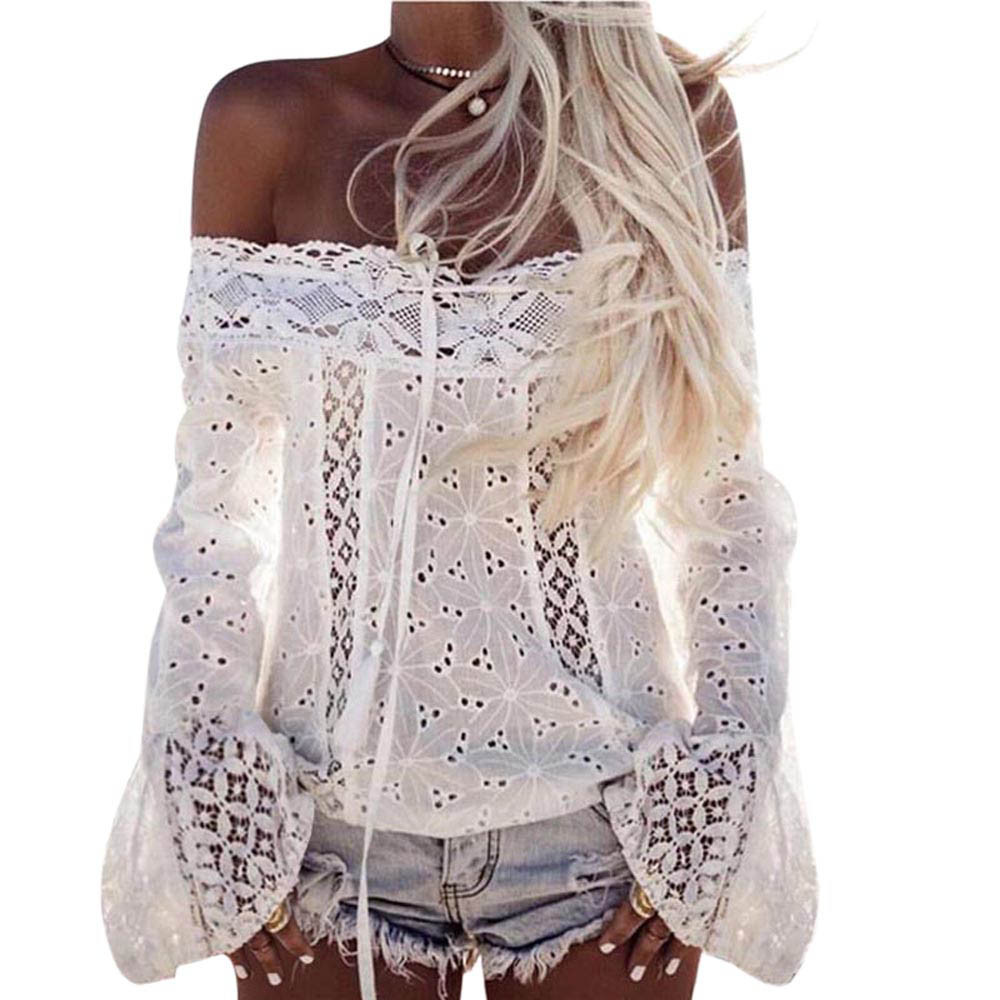SAGACEC   blouses     shirts   women 2019 Women Off Shoulder Long Sleeve Lace Loose   Blouse   women Tops   Shirt   Summer Tops   blouses   fashion