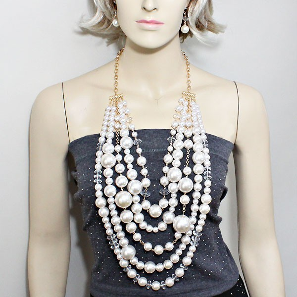 Free shipping Five Layers White Imitation Pearls Arylic Beads Long Body Chain Necklace Jewelry Gold Chain Necklace