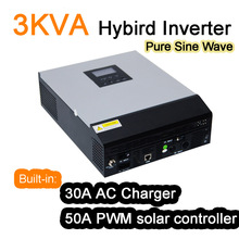3KVA 3000VA 2400W Hybrid Inverter Pure Sine Wave Power Inverter Built-in 30A AC Charger  and 50A PWM Solar Controller