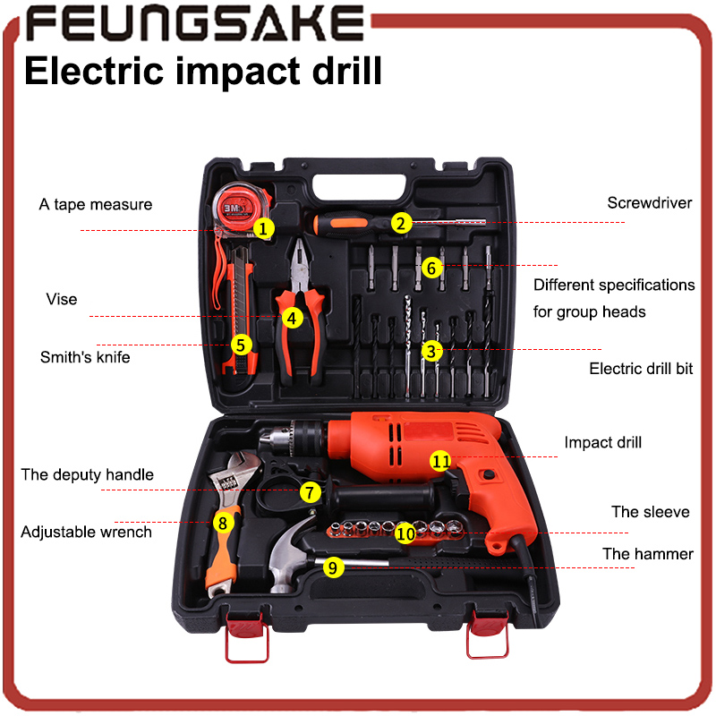 Electric Tools big power Household Multifunction Electric Impact Drills Set With Spanner Pliers Socket Hammer Screwdriver Bits laoa 810w 13mm multi functional household electric drills impact drill power tools for drilling ceremic wood steel plate