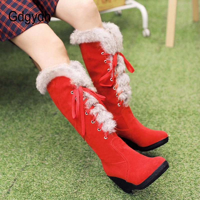 Gdgydh Suede Knee High Shoes Female Snow Boots Winter Warm Shoes Woman High Heels Wedges Shoes Good Quality Winter Long Boots цены онлайн