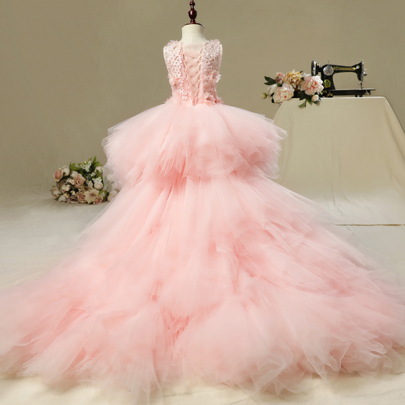 Image 4 - Fancy Flower Girl Dress with Train 2019 Children Show Performance Costume Kids Long Mermaid Tulle Pink Gowns Boutique Clothes-in Dresses from Mother & Kids