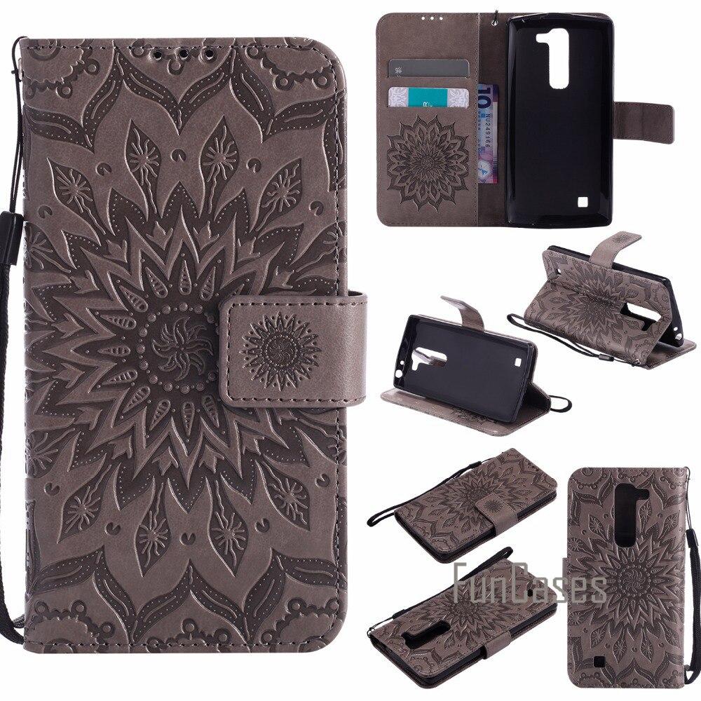 Luxury Flower Embossed Case sFor fundas LG G4c G4 mini H525N H522Y Case sFor coque LG Magna H502F H500F C90 Case 5 +Card Holder