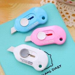 Bonito seguro utilitário faca de plástico escudo protetor criativo mini papelaria kawaii utilitário faca para crianças material escolar escritório