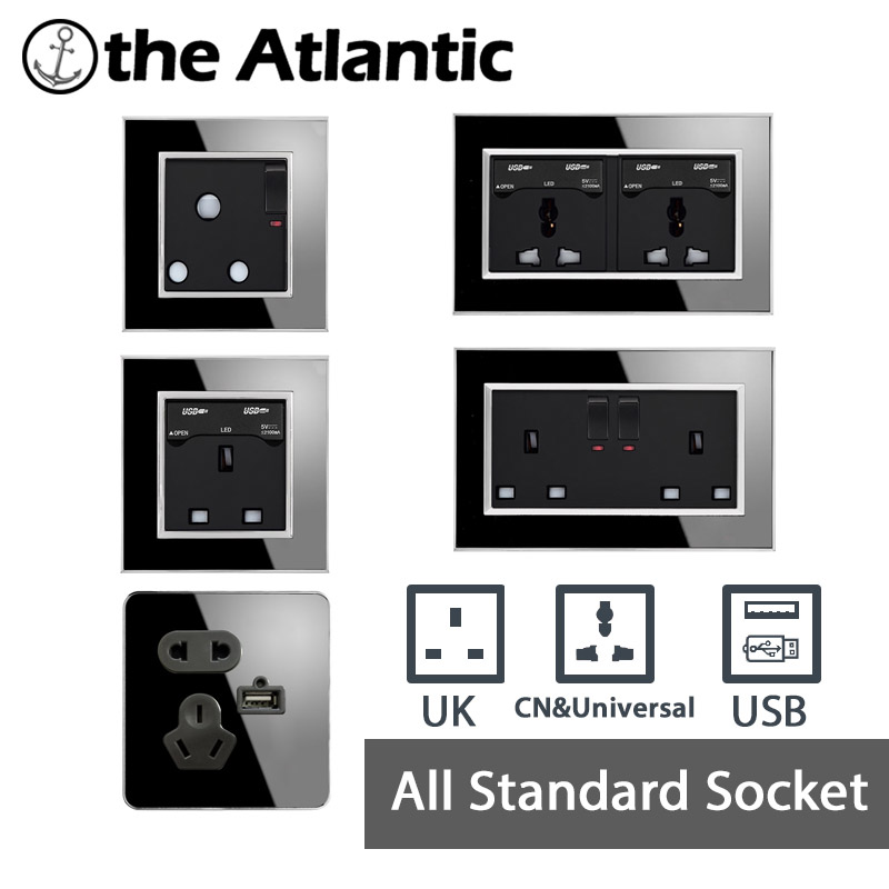 Atlantic Universal UK Standard Socket USB 146/86 Type 13A/10A Luxury Wall Power Outlet Acrylic Crystal Mirror Panel Push Button atlantic brand double tel socket luxury wall telephone outlet acrylic crystal mirror panel electrical jack