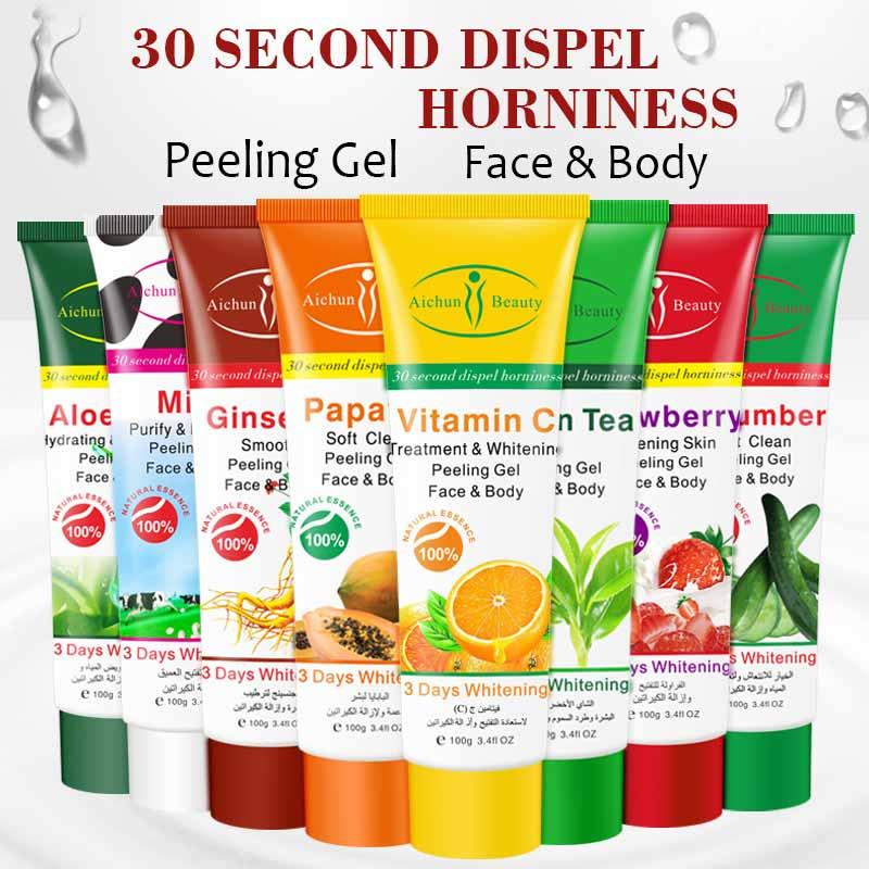 Aichun Beauty Papawa Aloe Milk Green Tea Exfoliating Cream Scrub Peeling Gel Face Body Skin  Whitening Cream Hand Body Care