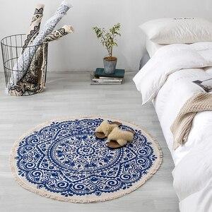 Image 3 - 曼荼羅ラウンド床敷物リビングルームの寝室のカーペットドアマット飾る家エリア綿ハンドメイド自由奔放に生きる敷物
