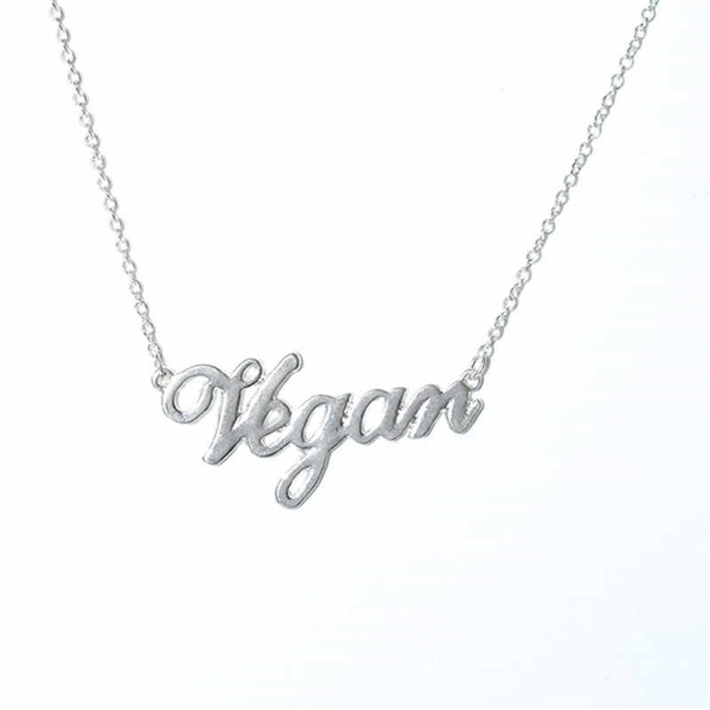 Vegetarian Symbol Customizable Letters Vegan Necklace Vegan Lifestyle Gift Jewelry for women