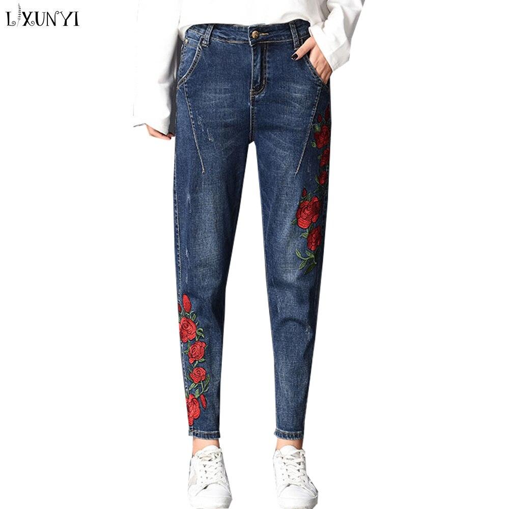 LXUNYI Automne Floral Broderie Dames Jeans harem Pantalon Femmes grande taille Jeans Femme Cheville Mode Coréenne Petits Amis pantalon denim