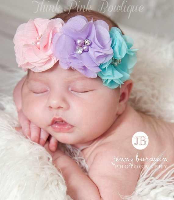 Новорожденных 3 шифон цветок повязки для волос аксессуары с Вышивание груша обувь для девочек эластичные ленты для волос Детские Цветок аксессуары волос W288
