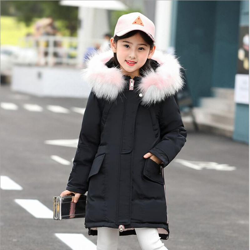 Children's Down Jacket 2018 New Fashion Fur Collar Long Girls Coat Thick Hooded Jacket Winter Children Down & Parkas tnlnzhyn 2018 new winter women down jacket slim fur collar medium long down cotton jackt thick hooded winter women coat y753