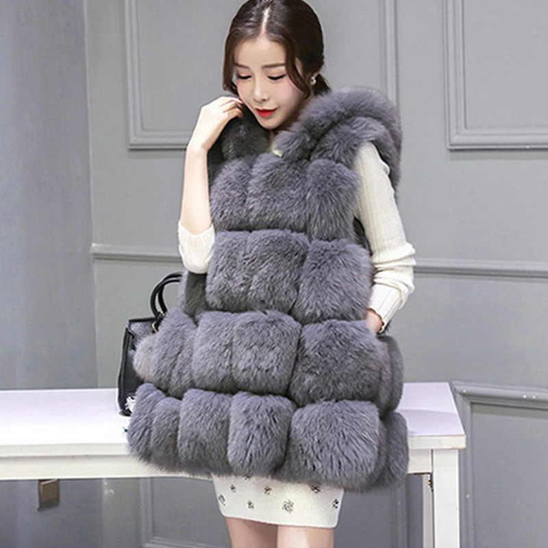 2019 осень зима теплый средний длинный женский с капюшоном Искусственный мех жилеты искусственный Лисий мех жилет плюс размер 4XL плащ стиль жилет