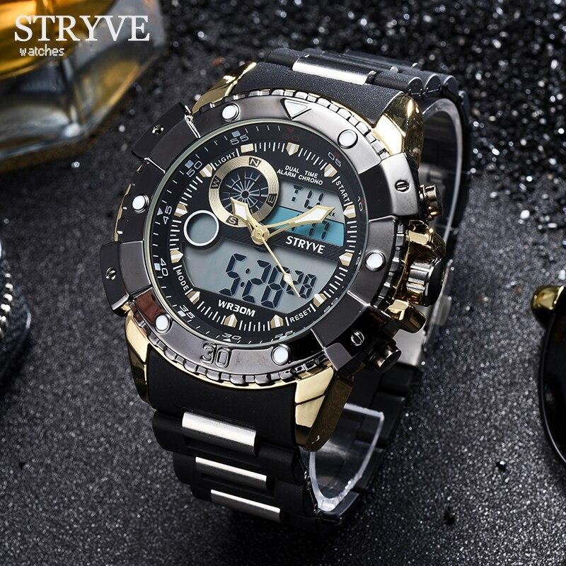 Reloj deportivo multifunción de lujo para hombre, reloj de pulsera de cuarzo, reloj de pulsera Digital militar analógico para hombre