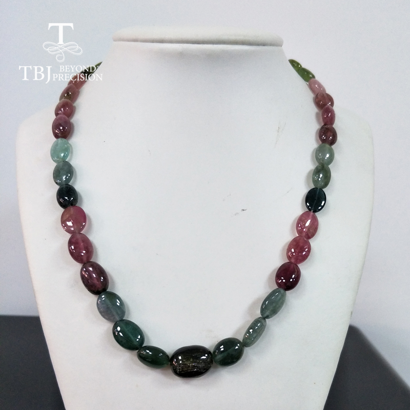 TBJ ,100% Natural fancy color tourmaline gemstone bead necklace with 925 silver clasp,200.7ct luxury big size necklace n