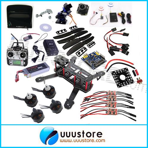 Mini QAV250 FPV Quadcopter RTF Frame+4 x Motor+4xEsc+Flight Control+4xProp+Radio+Charger+Battery+Monitor+Cam+AV Tx Rx