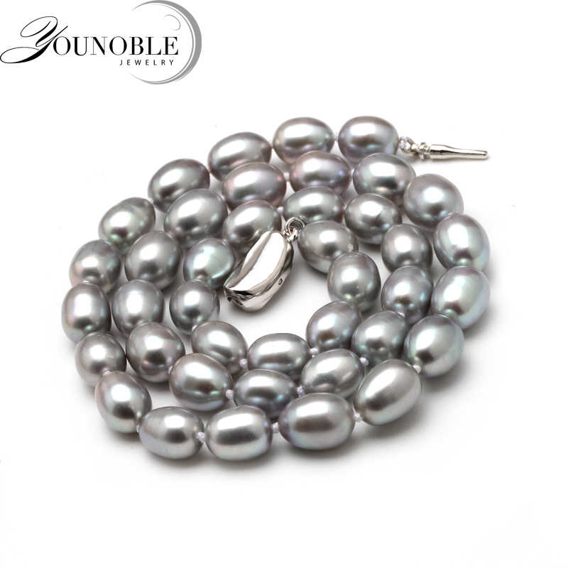 8-9mm Natural Freshwater Pearl Necklace Single Necklace for Women Good Luster Pearl Beaded Chocker Wholesale Grey Wedding