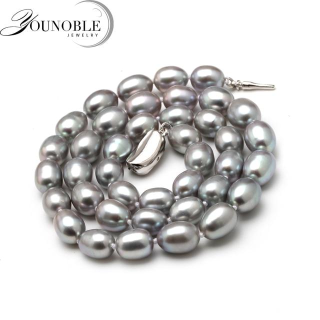 8-9mm D'acqua Dolce Naturale Collana di Perle Collana Singolo per Le Donne Buon