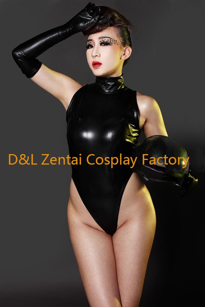 Free Shipping DHL Adult Sexy Costume Black Shiny Metallic Zentai Catsuits for Women MY004 (3)