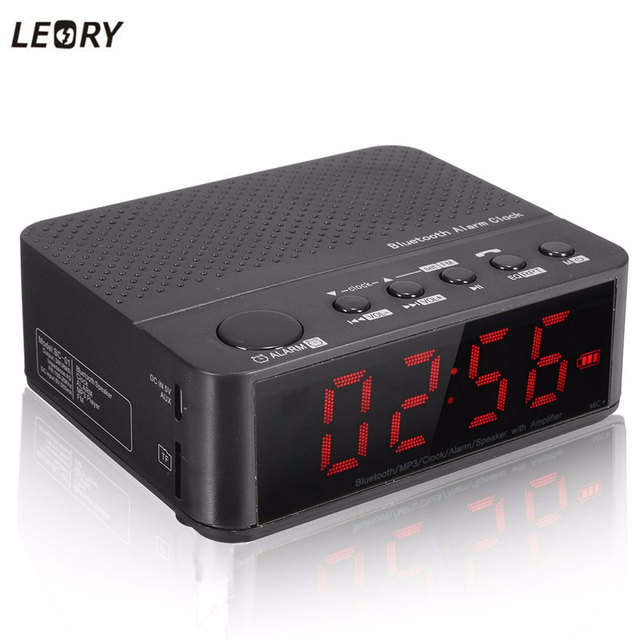 LEORY Multifunctional Black Digital LED Display Alarm Clock Bluetooth Speaker FM Radio Mp3 Player TF DC 5V Wireless Amplifier