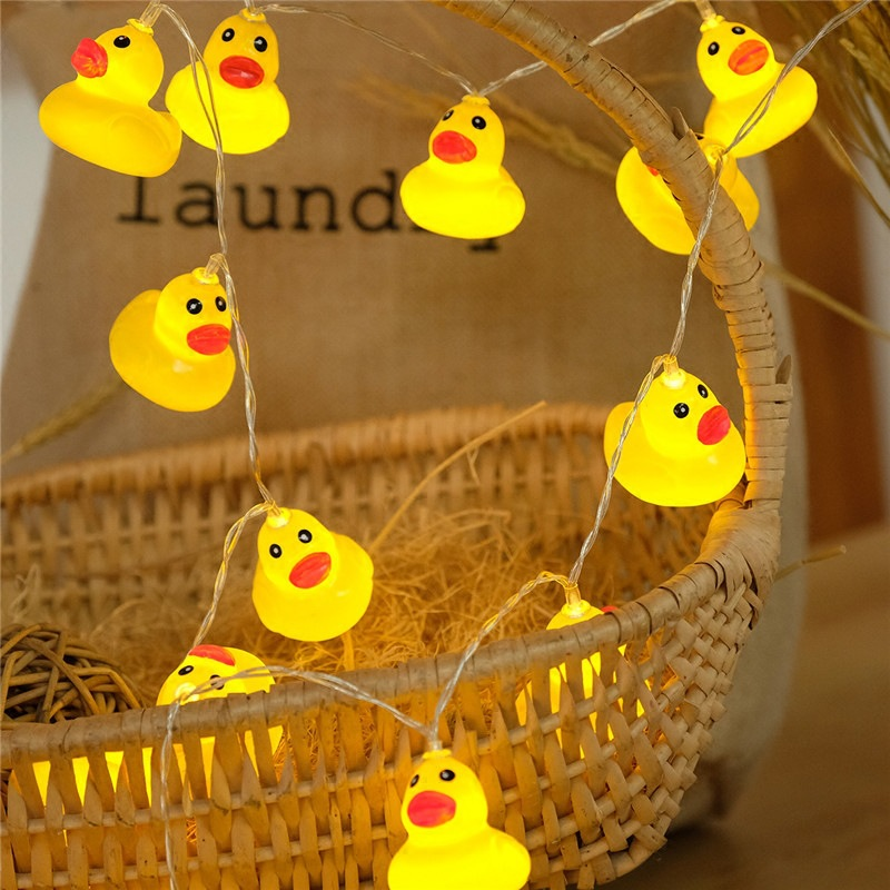 1.5M 10LED Fairy Yellow Duck String Light Garland Battery Power Holiday Wedding Party Home Indoor Decoration Led