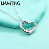 LIAMTING New Fashion Solid Silver Lovely Heart Pendant Necklace For Young Lady Silver Heart Pendant Chains