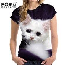 FORUDESIGNS Fashion 3D Animal Pet Cat Print T Shirt for Women Harajuku Style Top Tees Female O Neck Short Sleeved T-shirt Blusa