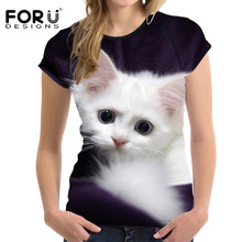 FORUDESIGNS Fashion 3D Animal Pet Cat Print T Shirt for Women Harajuku Style Top Tees Female O Neck Short Sleeved T-shirt Blusa