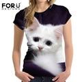Forudesigns nueva clothing cute cat t shirt mujeres animal 3d harajuku Casual Tops Tees Blusa Mujer O Cuello de la Camiseta Más El Tamaño S-XXL