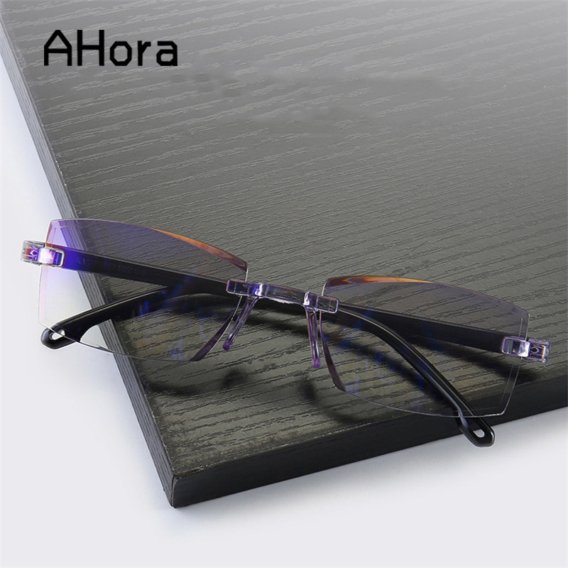 Ahora Bifocal Anti Blue Ray Reading Glasses Men Women Rimless Cutting Reading Presbyopia Eyewear For Ladies Blue Light Glasses