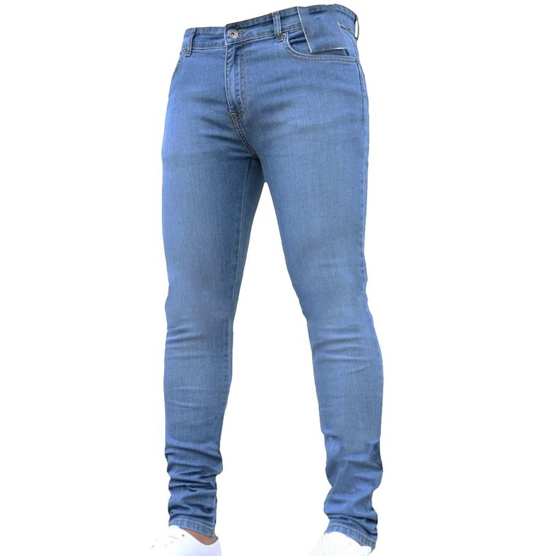 NIBESSER, мужские брендовые обтягивающие джинсы, брюки, повседневные брюки,, джинсовые черные джинсы, homme, Стрейчевые узкие брюки размера плюс, уличная одежда 3XL - Цвет: Light Blue1